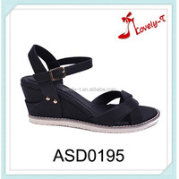 lastest woman low heel summer shoes cheap wedge sandals