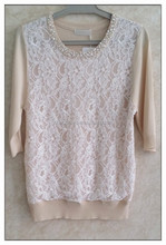 2015 women knitting ladies' blouse short sleeve beaded round neck pullover with lace patchwork