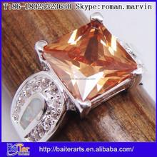 925 Sterling Silver Unique Opal & Cubic Zircon & Orange Garnet Princess Cut Wedding Ring Sets Wholesale