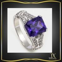 india gemstone dark blue topaz stone silver ring jewelry