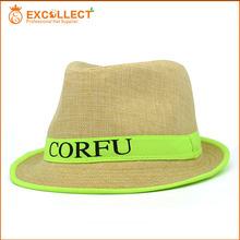 Bulk Quantity Custom Straw Fedora Hat With Logo Printed