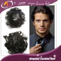 6 inches natural straight indian cheap remy hair men's toupee piece full PU toupee for white men