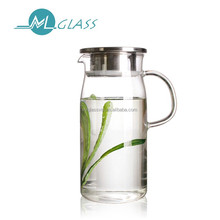 Clear glass pitcher teapot glass water coffee pot with stainless steel strainer lid handmade 1000ml