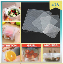4pcs set vacuum food magic wrap multifunctional food fresh keeping plastic wrap Silicone Transparent Re-usable Food Wraps