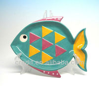 Disposable fish shaped ceramic decorative plate