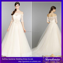 Newest A-Line Half Sleeve Tulle Floor Length Applique Off The Shoulder Wedding Dresses With Sleeves(CC3005)