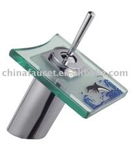 sink glass mixer(square glass bath mixer,new designed waterfall faucet)