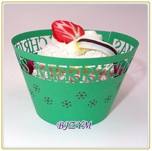 green color laser cut cupcake wrappers Merry Christmas cupcake box cake tray