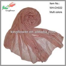 fashion long silk feel polyester scarf with rhinestone