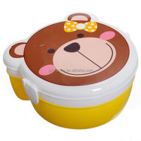 New Fashion Cartoon Animal Panda Bear Pig C-at Microwaveable Plastic Lunch Box Spoon Meal Two Layers Bento Case