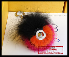 Top Quality Eye Shape Mixed Color Raccoon Fur Balls Keychain For Car