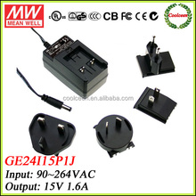 Meanwell GE24I15-P1J 15v 1.6a power supply adapter