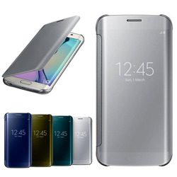luxury smart flip mirror cover for samsung galaxy S6 edge case with UV printing