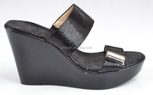 Latest fashion black genuine leather two large straps women high heel wedge sandals 2015