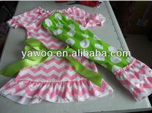 2014wholesale kids girls easter short sleeve chevron dress ruffled pants cheap brand summer polka dots fabric clothing sets
