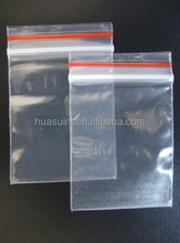 China factory reclosable plastic zipper bag with red line 15x20 cm