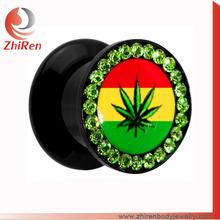 Black acrylic Screw fit thread logo gems around pot leaf ear plug tunnel, gems ear tunnel, gems ear expander