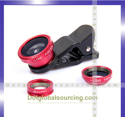 Wholesale 3 in 1 Clip 0.67X Wide-angle+Fish Eye Lens+Macro Mobile Phone Lens For Intelligent Phones