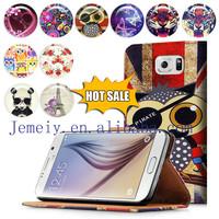 Leather Wallet Flip Media Stand Moile Handset Case Cover For Samsung S6 Smart Mobile Phones