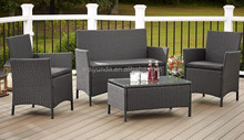 Outdoor Patio Furniture 4-piece Conversation Set Resin Wicker With Cusions Black