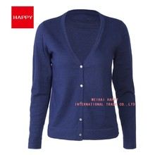 16GG Cotton Cashmere Extra Fine Gauge Knitted Women Sweater Cardigan