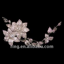 Bridal wedding crystal flower leaf alloy Brooch Pin