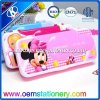 2015 oem accept red plastic mickey pencil case with scissors wholesale online shopping for kids
