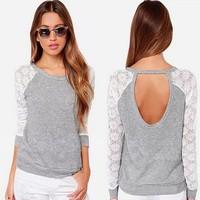 M10262A 2015 Korean new fashion long sleeve lace lady t-shirts