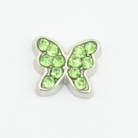 2016 Popular 12 Months Birthstone Light Green Crystal Butterfly Floating Charms Fit Glass Locket