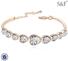 2014 corazón de cristal pulsera de moda, 18k pulsera de oro