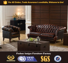 2015 Luxury Chesterfield Leather Sofa , New Design Office leather sofa