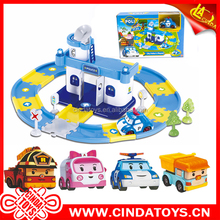 New diy kids poli Track parking lot city rescue engineering hospital police playset friction car plastic toys poli robocar