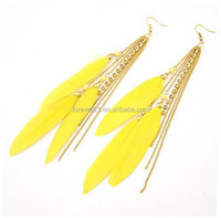 2015 Factory Direct Selling 6 colors available new design brand yellow feather earring