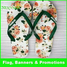 Good quality heat transfer custom photo flower logo flip flop for promotion