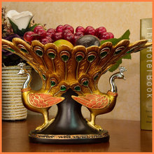 Lucky Golden Peacock fruit plate home decorations resin manufacturers, wholesale fashion creative ornaments