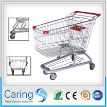 good quality shopping trolley/zinc plated 125l supermarket shopping trolley