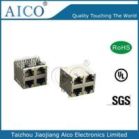 2015 hot product 10/100/1000 Base-T with led shielded 2X2 multi rj45 jack socket