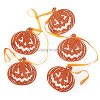 5' glitter pumpkin die cut garland for Halloween decoration,hanging paper garland