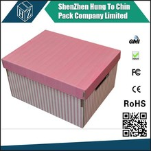 China supplier factory corrugated paper color foldable divided printed patterned cardboard storage boxes