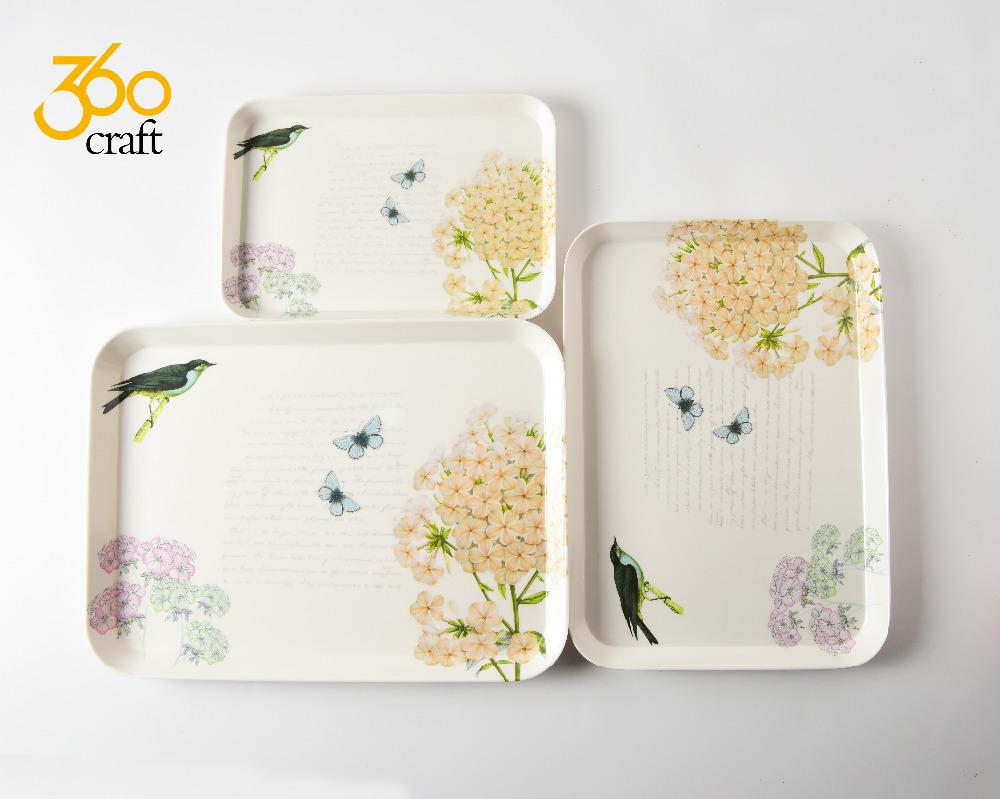 Fabricantes directos laminado cuadrado melamina bandeja con impresión personalizada para restaurante