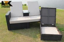 Outsunny Outdoor Storage PE Rattan Wicker Patio Love Bench Sun Lounge
