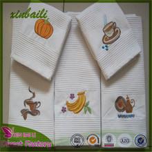 Factory Direct Custom Fruit Embroidered plain white cotton tea towel