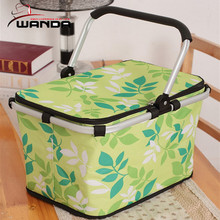 Polyester cooler picnic basket with metal handle