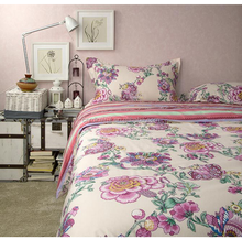 Hot American rustic princess pink floral 4pcs king size cotton bedding sets,french pastoral style pillow duvet cover
