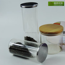 Storage glass canister set with the metal lid, glass canister set with lid wholesale