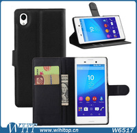 Flip Cover Leather Case for Sony Xperia M4 Aqua, Phone Accessory Wallet Case for Xperia M4 with Stand