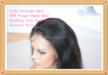 Top Grade 100% Brazil Virgin Human Hair Wig,Silky Straight Hair Full Lace Wig With 4x4 Silk Top Closure , Thick Density