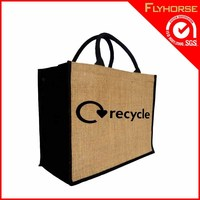 Handled jute craft gift packing bag for promotion and shopping