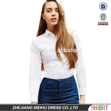 2015 Pure white lady oxford casual shirt, lady office uniform design