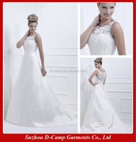 WD-1930 Sleeveless A line lace covered back brides wedding dresses guangzhou old fashioned wedding dresses for full figure